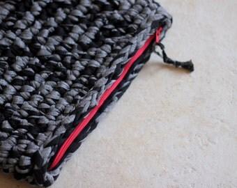 Crochet bag with red zipper
