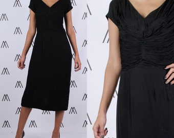 1950s Black Day Dress