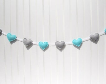 Heart banner / garland / bunting - blue and gray - Nursery decoration