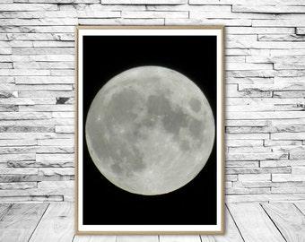 Full Moon Print, Moon Wall Art, Printable Wall Art, Full Moon Poster, Big Moon Print, Super Moon Wall Art, Giant Moon Print, Moon Printable