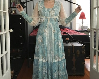 Vintage Gunne Sax Prairie Dress Blue Floral