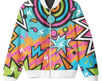 Party Strings White Trim Sublimation Front & Back Printed Zip Up Hip Hop Jacket