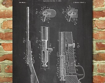 Bolt Action Rifle Poster, Dad Gun Gift for Men, Gift for Military Gift Ideas, Firearm Art Decor, Hunting Poster, Dad Hunting Gift Print P171
