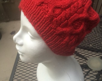 Cabled Beanie in Red