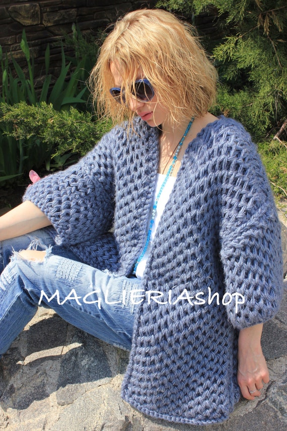 "hand-knitted cardigan ""honeycomb"""