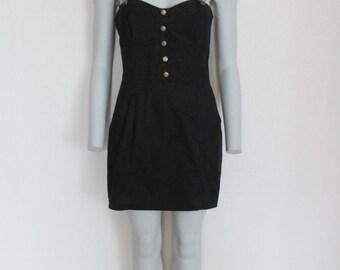 Black Strap Jumper Dress Owerall Sarafan Pinafore Large Size