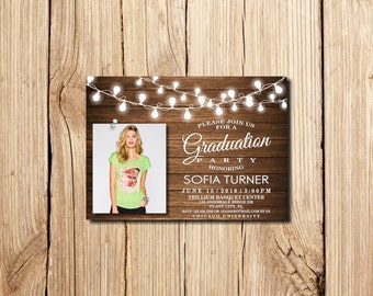 Graduation Invitation, Graduation Party Invitation, Rustic Graduation Announcement, Printable, with photo, wooden, Graduation Invite