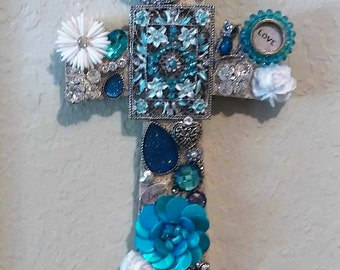 Turquoise Cross Bling Decorated Jeweled Cross Wall Hanging