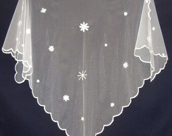 Wedding Shawl / Bridal Shawl - Edwardian style - Cornely embroidered  - neutral and elegant!