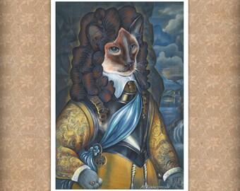 The Cat King / Siamese Cat Art Print / Classic Cat Portraits of Animal Century