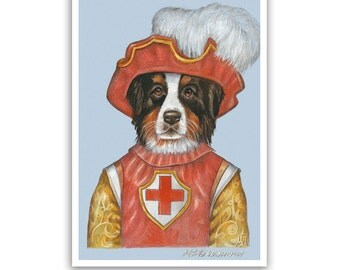 Bernese Mountain Dog Art Print - the Guard - Swiss Dog Art, Decor - Unusual Dog Artworks - Pet Portraits by Maria Pishvanova