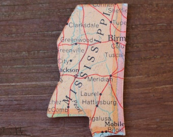 Mississippi State Magnet Vintage Puzzle Piece Rand McNally Map