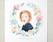 Dana Scully X-Files // portrait print, watercolor