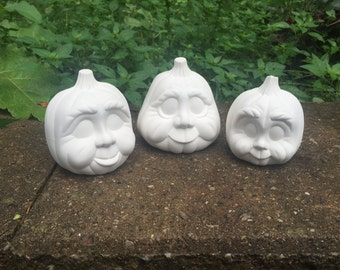Ceramic Bisque - 3 Pumpkins for Halloween - Ready to Paint - DIY