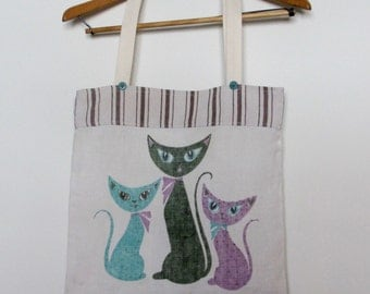 Mod Cats Midcentury Dish Towel Tote Bag Epicycle
