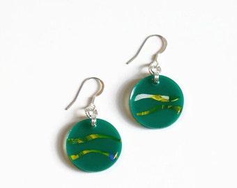 Green Resin Earrings, Round Drop Earrings, Statement Earrings, Dangle Earrings, Contemporary Jewelry, Gift for women, Resin Jewelry
