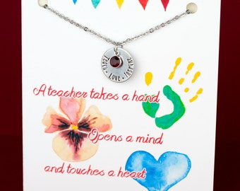 Teacher Necklace - Teach Love Inspire - Birthstone Necklace - with a Card - Ready to Gift  - Teacher Gift
