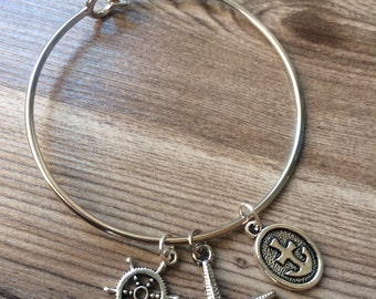 Starfish, Anchor and Ship Wheel Bangle Bracelet