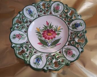 Decorative Hand Painted Dish Plate Bowl Floral Flowers Lace Vintage Home Decor
