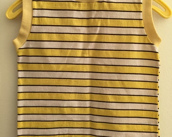 Vintage Yellow Black and White Striped Tank Top