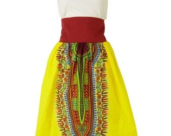 "African print knee length skirt, ""Nyla"", sizes SM to 1x 2x 3x 4x 5x 6x. Yellow wax print skirt."