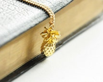Pineapple pendant, Gold pineapple, Kawaii jewelry, Cute Fruit necklace, Tropical party, Food jewellery, Pineapple necklace, Gift for niece