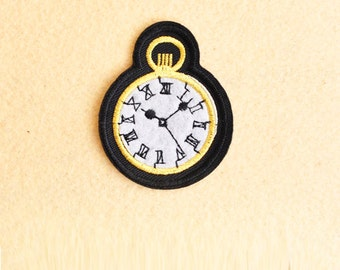 Clock patch- Iron on patch -Sew On patch - Embroidered Patch (Size 7.1cm x 4cm)