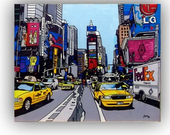 Times Square of New York, acrylic paint of Jotawi