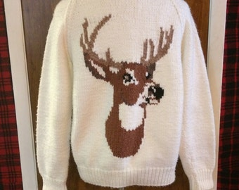 White Zip-up Deer Cardigan