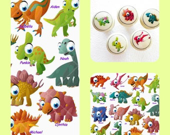 Baby Dinosaurs Kids Dresser Knobs Hand Decorated Decoupaged Nursery Decor for Girls & Boys. Buy Just Your Favorites!
