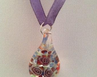 Lavendar Ribbon Necklace with Glass Flower Pendant