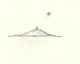 Original watercolor. Small mountain. Original drawing of little mountain.