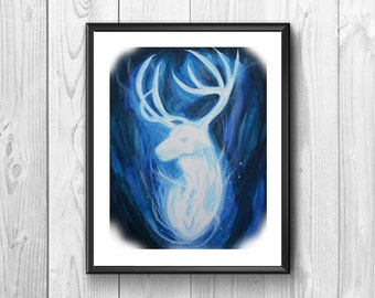 Expecto patronum, special spell, deer, wall poster