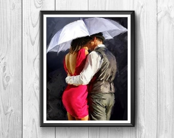 Two lovers under the umbrella, drawing done in watercolor
