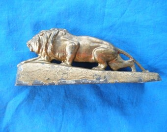 Vintage Metal Lion Paperweight Collectible  Jungle King Antique Early 1900's Circus Lion