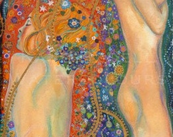 Giclee Print from an Original Painting, Sea Serpents after Gustav Klimt, by Irish Artist Kate Bedell