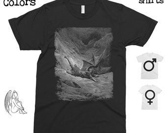 Paradise Lost 2 - Gustave Dore T-shirt, Tee, American Apparel, Art, Woodcut, Engraving, Renaissance, Gustave Dore, Cute Gift
