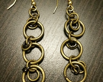 Dangling Brass Chainmaille Earrings