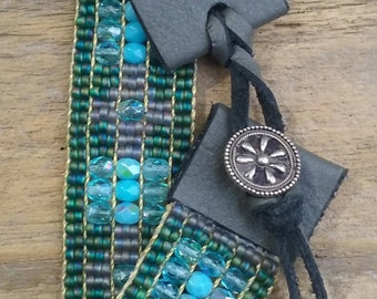 Bead woven bracelets,Seed bead loomed bracelets, Native American inspired,Southwest chic,Statement jewelry,Sterling silver,Boho,gift idea