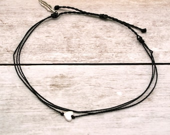 Wax Cord Anklet, Tiny Silver Heart Anklet, Waterproof Wax Cord, Boho Surfer Anklet, Beach Anklet, Adjustable Waterproof Anklet, Custom Color