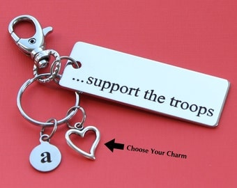Personalized Support the Troops Key Chain Stainless Steel Customized with Your Charm & Initial -K372