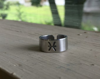 Pisces Ring - Horoscope Ring - Zodiac Jewelry - Zodiac Ring - Astrology - Adjustable Stamped Ring