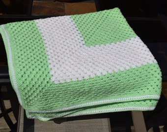 Hand Crochet Green and White Granny Square Baby Blanket