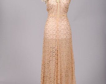 1940 Apricot Chiffon Vintage Wedding Gown
