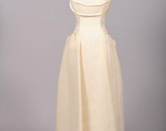 1970 Bustled Organza Vintage Wedding Gown