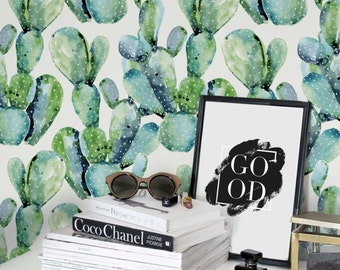 Watercolor Cactus Wallpaper /Removable /Regular Cactus Wallpaper /Cactus Wall Mural /Watercolor Cactus Pattern Wall Covering