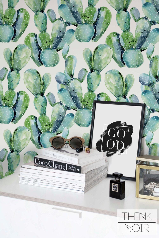Watercolor Cactus Wallpaper Removable Regular Cactus