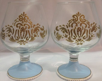 Hand-painted Brandy glasses.