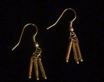Gold Cylindrical Dangle Earrings