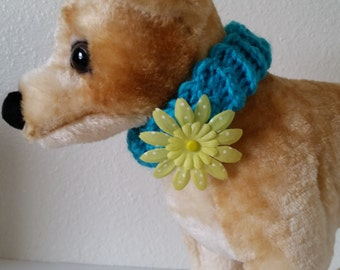 Blue Knitted Pet Collar with Yellow Flower Dog and Cat